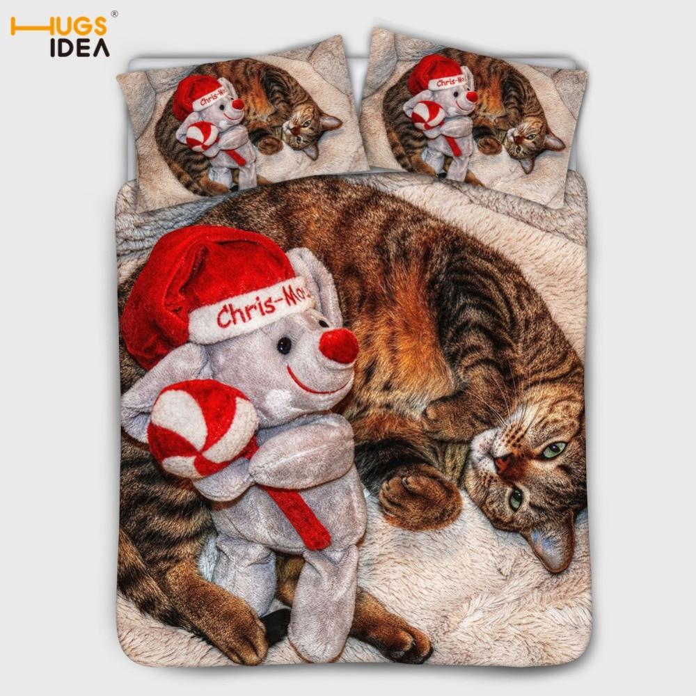 HUGSIDEA Weihnachten Katze 3D Bettwäsche Set Design Bettbezug Setzt König Königin Twin Größe Dropshipping Familie Bettwäsche Kissenbezug Set