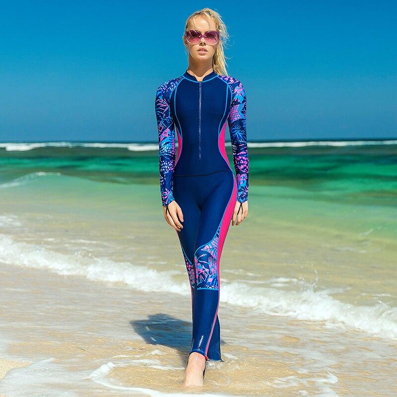 Traje de buceo de una pieza SABRT para mujer, traje de baño de manga larga con protección solar, ropa de Medusa, ropa de natación, ropa de surf, traje de baño