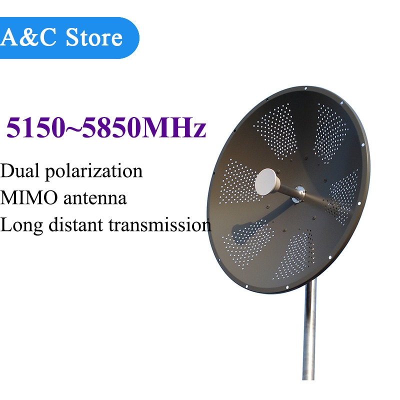 5g~5.8g Mimo Parabolic Antenna dual polarization 29dBi high gain 5150~5850MHz for remote signal transmission customized