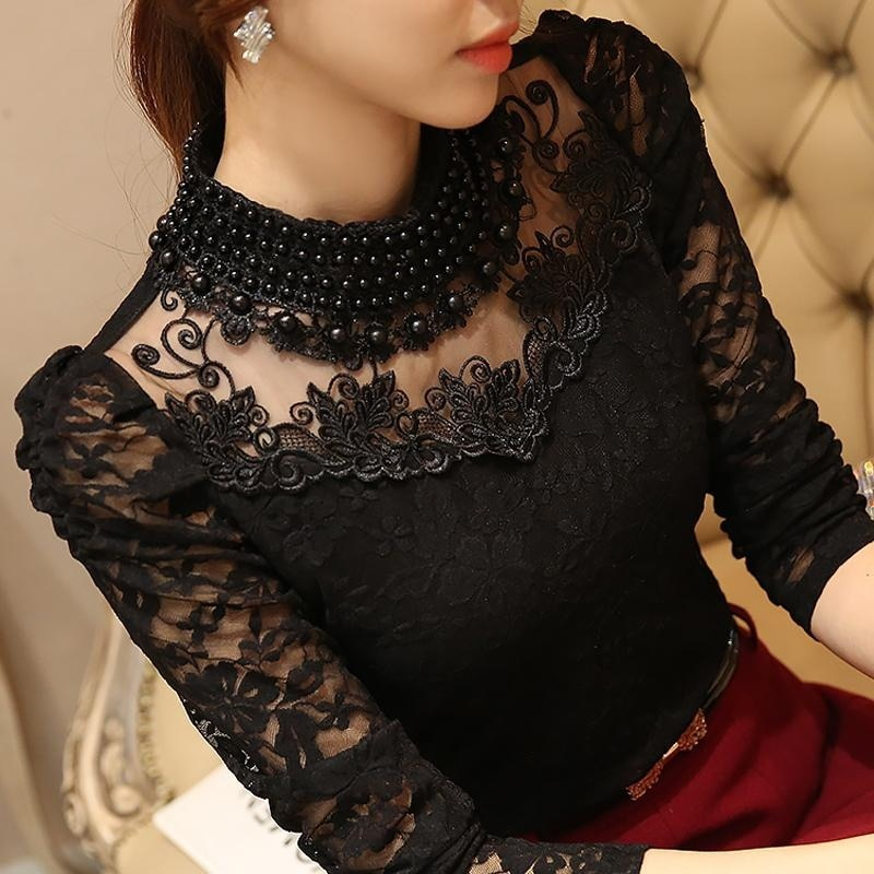 Women Sexy Lace Blouse new Slim Plus size 3XL Tops Long Sleeve Casual Shirt Beaded Openwork Feminine