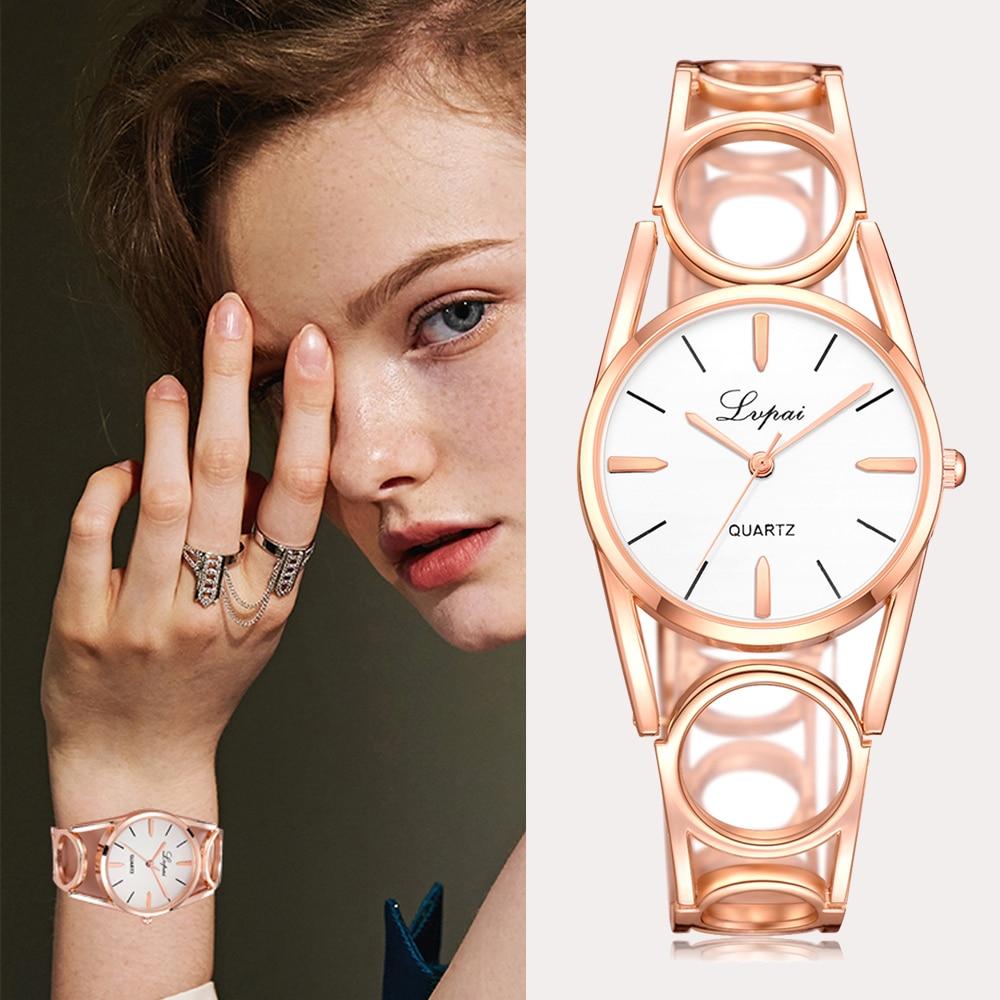 Lvpai famosa marca 2018 nova moda feminina relógio de luxo rosa ouro diamante senhoras relógio de pulso casual relógio de quartzo
