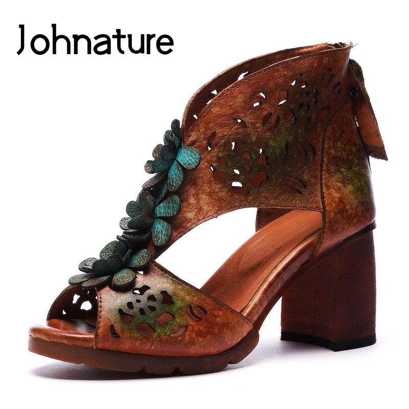 Johnaty-صندل من الجلد الأصلي للنساء ، حذاء كاجوال بكعب عالٍ ، سحاب ، نمط زهري ، نمط وطني قديم ، ضحل ، صيف 2021