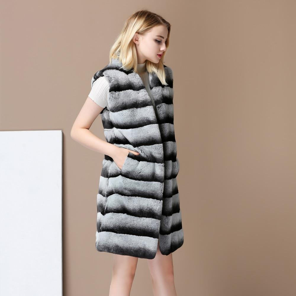 2017 Nova Outono Inverno Brasão Chinchilla Rex Rabbit Fur Colete Gliet Colete de Médio-Longo Casaco de pele Genuína casaco Macio pele macia