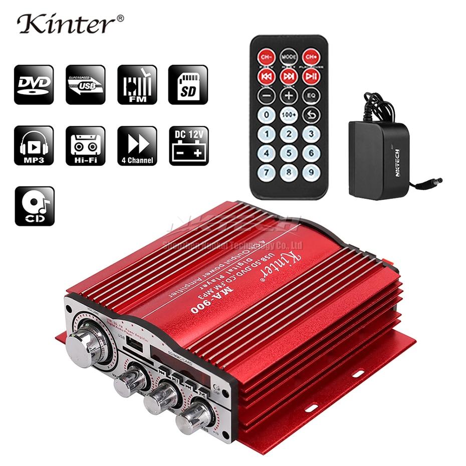 أماه-900 Kinter سيارة الطاقة بلوتوث مكبر للصوت مشغل رقمي ايفي ستيريو 4x30 W RMS AUX SD USB FM CD DVD MP3 الصوت المنزل الصوت DSP