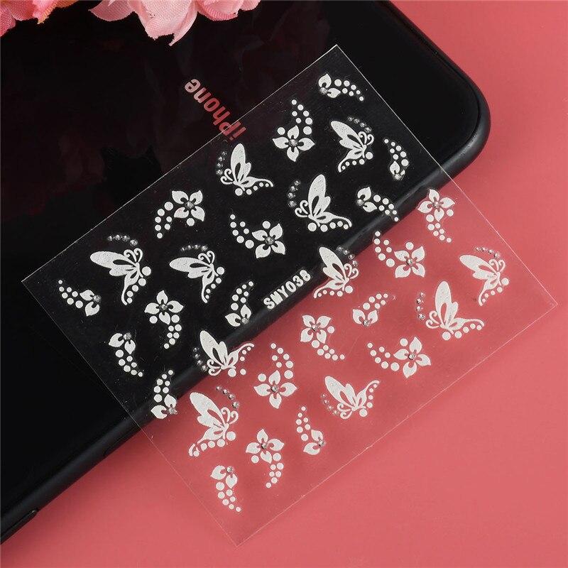 Pegatinas 3D para uñas artísticas, 1 hoja de pegatinas para decorar uñas artísticas con diamantes de imitación y flores de color blanco y plateado