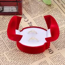Exquise velours rouge Double face bijoux boîte cadeau bague de mariage vitrine