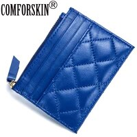 comforskin brand guaranteed 100 sheep skin plaid style new arrivals european and american style card wallets 2020 coin purses