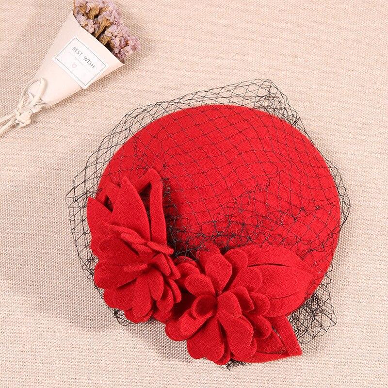 Sombrero Fedora de flores de marca, sombrero de boina de fieltro de lana pura de otoño para mujer, gorro Vintage de lana de moda para damas, sombrero de boda