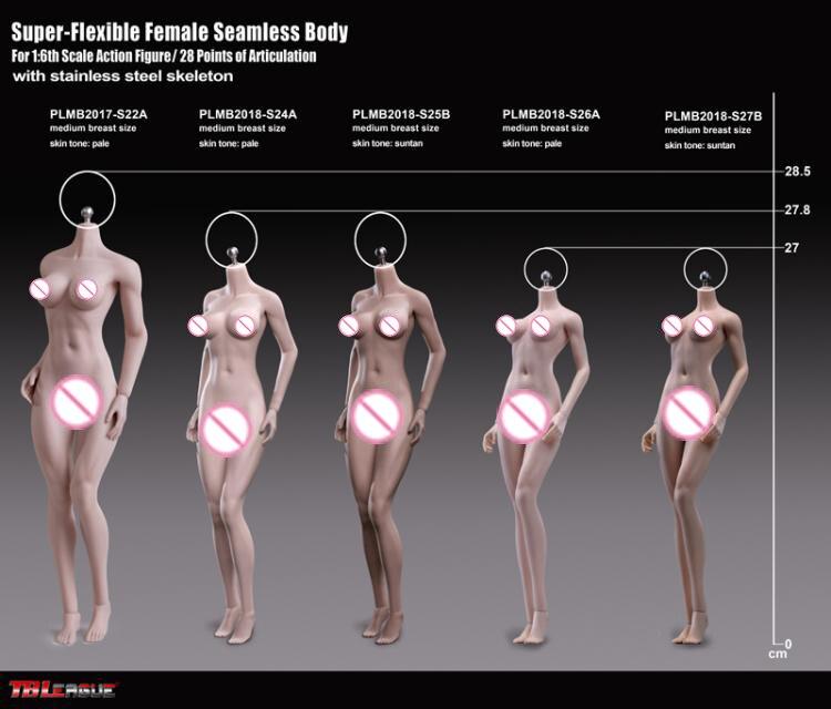1/6 Scale Female Body S24A S25B S26A S27B Super-Flexible Petite Seamless Bodies Suntan/Pale Colors Model for 16 Action Head