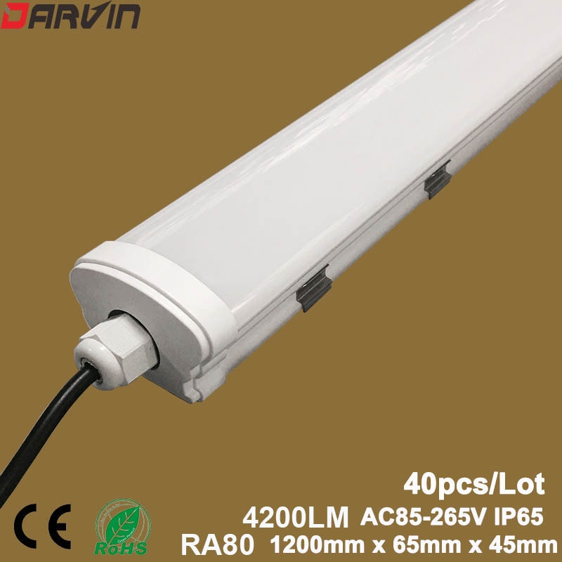 Led Tube Light 4ft  1200mm Waterproof IP65 Wall Lamp Tri-Proof Lights for Outdoor Underground, Cold Warehouse Icehouse