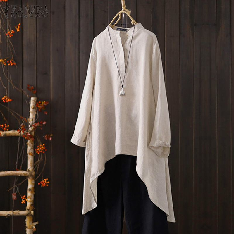 ZANZEA 2020 blusa de lino de moda de las mujeres Vintage de manga larga asimétrica Tops verano camisas botón Chemise Casual túnica Tops