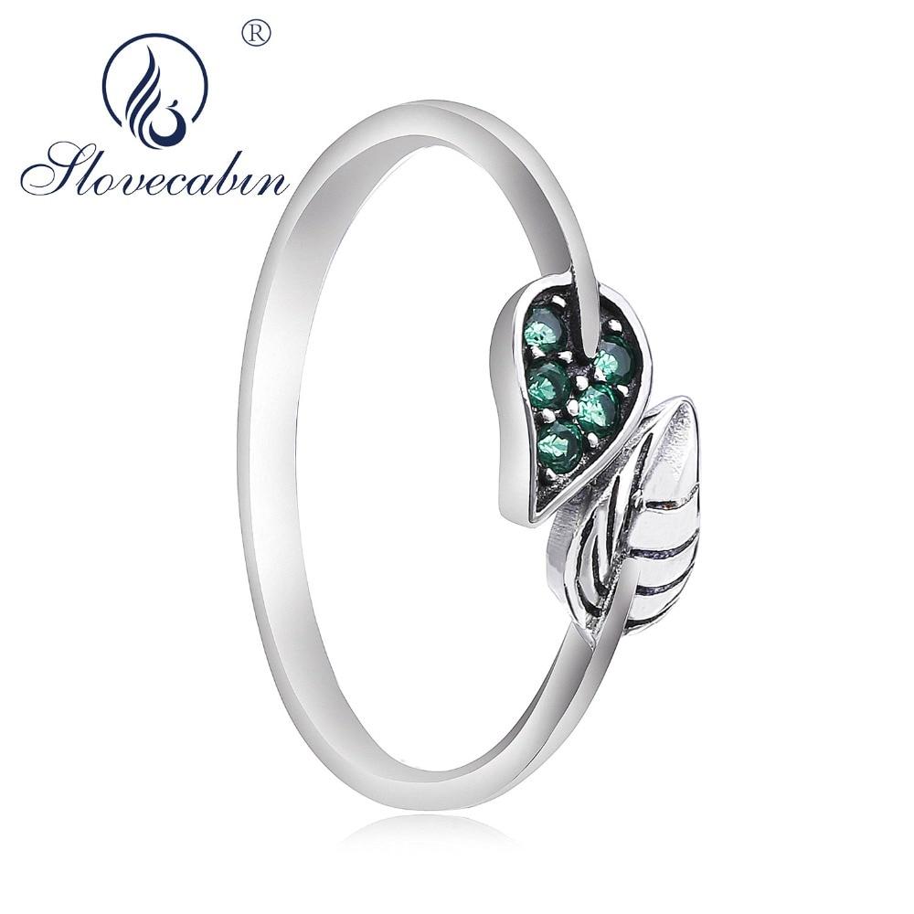 Slovecabin 925 plata esterlina joven 2018 estilo de la naturaleza hojas verde CZ dedo anillos pastizales puros KissTree hoja primavera anillo