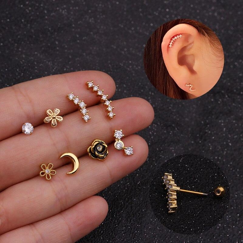 Imixlot новый дизайн Cz изогнутые серьги-гвоздики, Надеваемые На ушной хрящ раковины пирсинг спираль серьги пирсинг ювелирные изделия