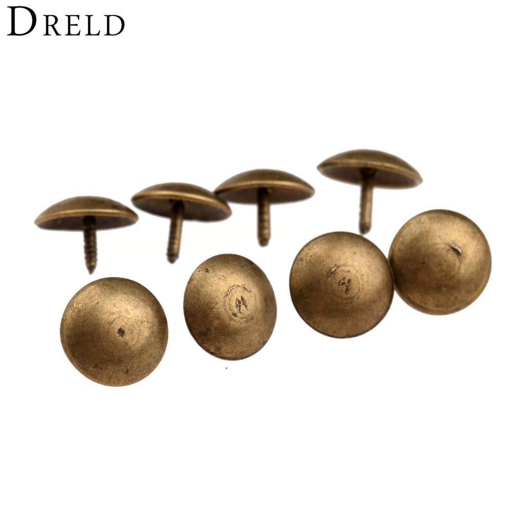 50Pcs/lot Antique Brass Upholstery Nail Decorative Upholstery Tacks Stud Wooden Box Case Furniture Nails Pushpin Doornail 9x6mm