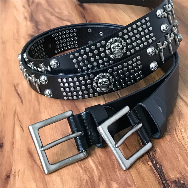Genuine Leather Vintage Metal Skull Punk Men Belt Jeans White Belt Stud Cowboy Strap Cinturon Ceinture Homme Riem Belts TBT0051