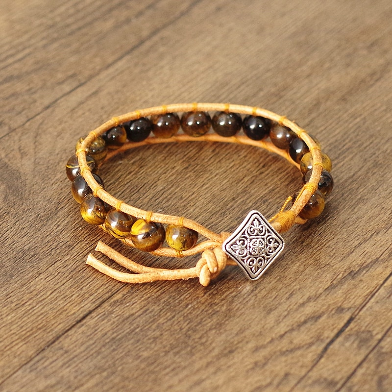 Natural pedra tigre olho contas de couro wrap pulseira & bangle feminino moda jóias boho yoga chakra charme pulseira presente