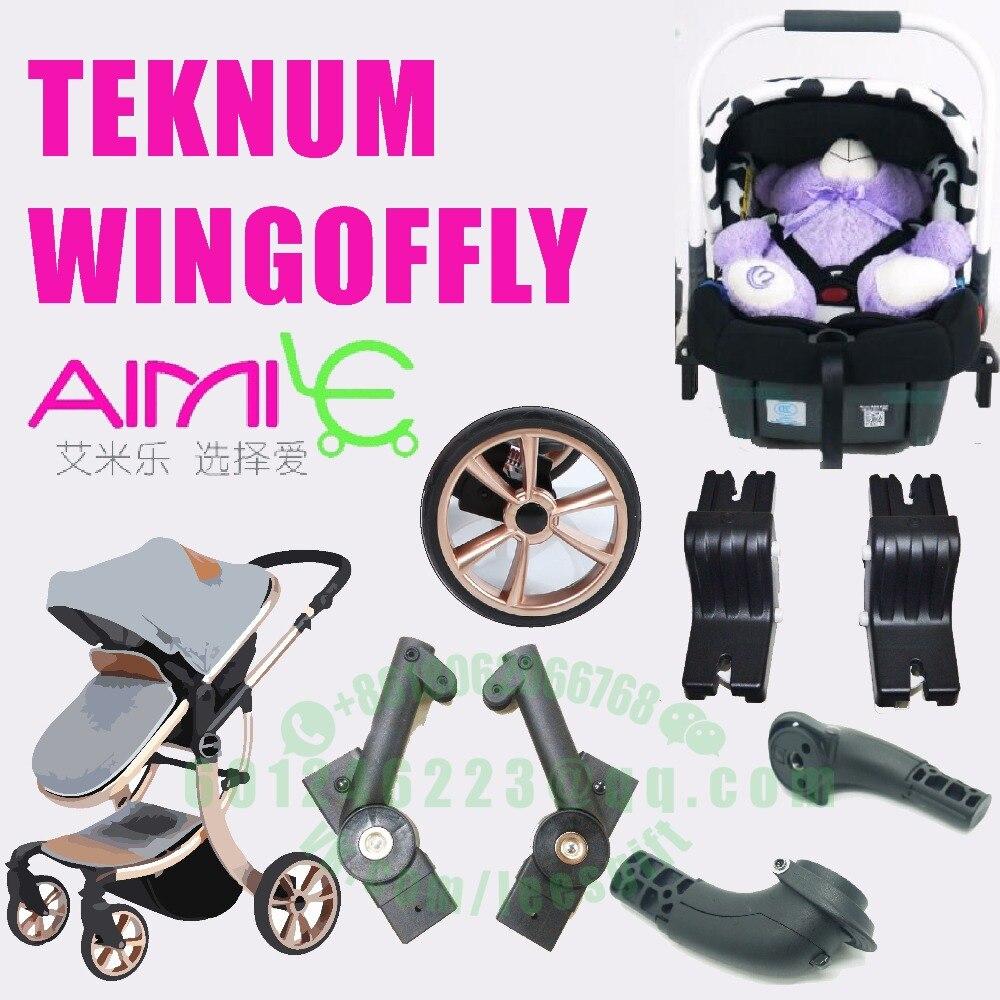 Aimile عربة الجناح من يطير WINGOFFLY TEKNUM الطفل عربة الجبهة عجلة مقعد ربط البلاستيك استبدال جزء سيارة مقعد adparter