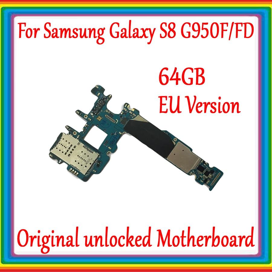 64GB EU Version For Samsung Galaxy S8 G950F G950FD Motherboard Original unlocked Mainboard for Galaxy S8 G950F G950FD Logicboard