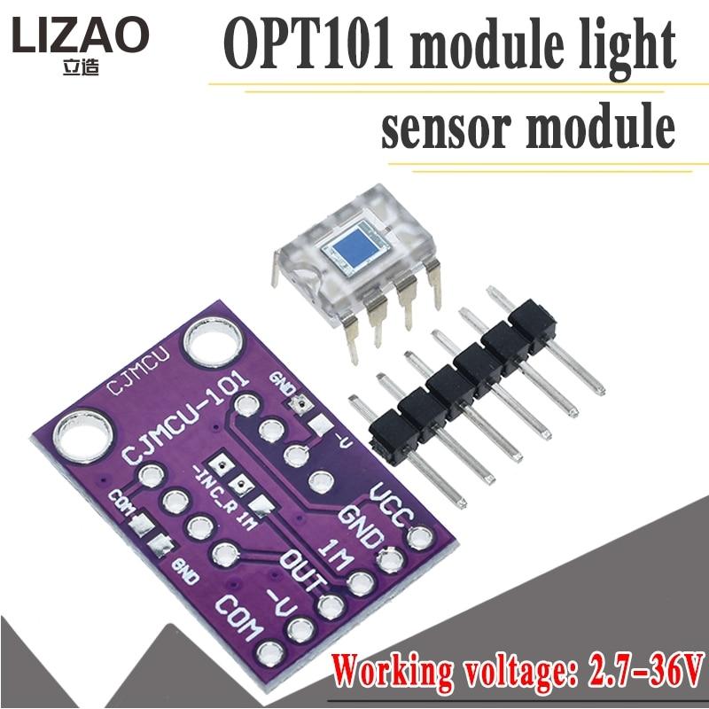 Opt101 luz analógica módulo sensor de intensidade de luz único chip fotoelétrico diodo 14 khz CJMCU-101