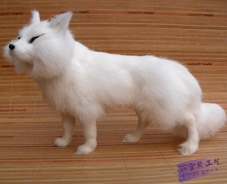 big simulation beautiful walking fox toy lifelike white lucky fox doll gift 35x12x23cm