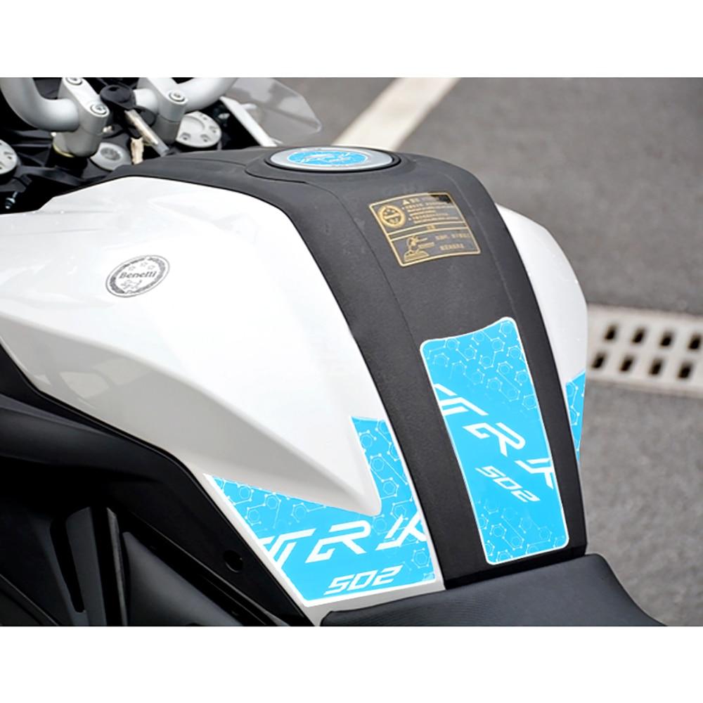 Impresión 3D de motocicleta para Benelli TRK502 trk 502, tanque de Gas a Tracción, almohadilla de protección, etiqueta adhesiva azul