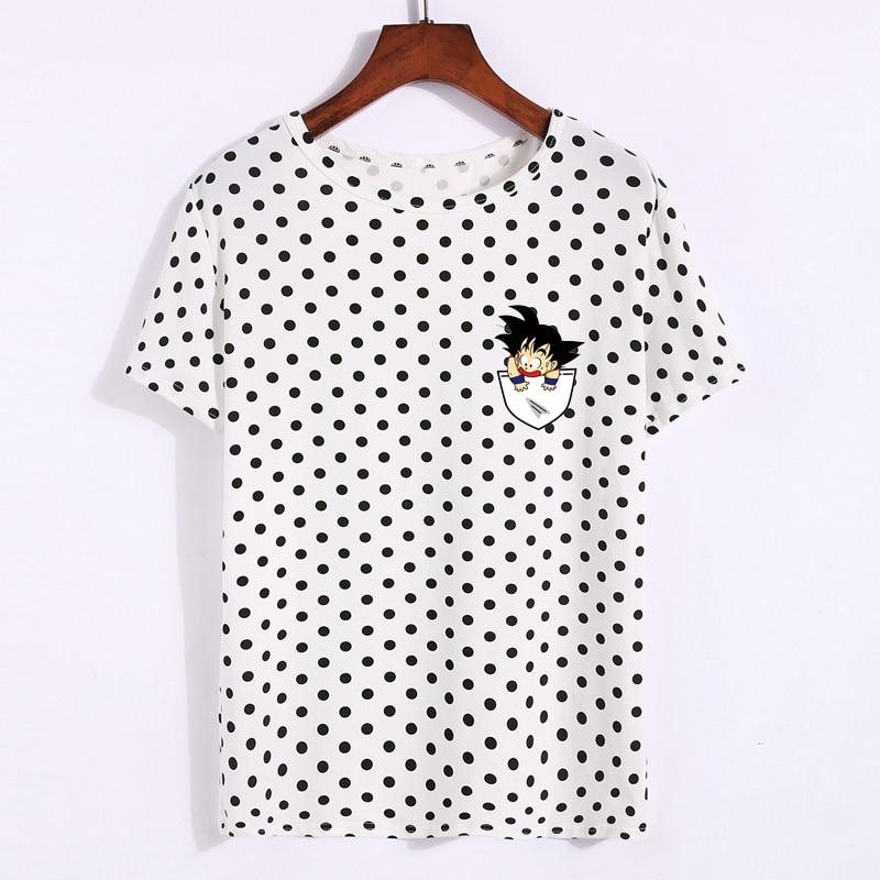 Kpop смешно Dragon Ball футболка Для женщин в горошек короткий рукав летние топы Аниме Малыш карман Гоку Вегета Отпечатано Harajuku футболка