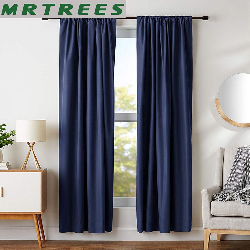 MRTREES cortinas para sala de estar dormitorio cocina persianas Color sólido acabado moderno cortinas para tratamiento de ventana panel