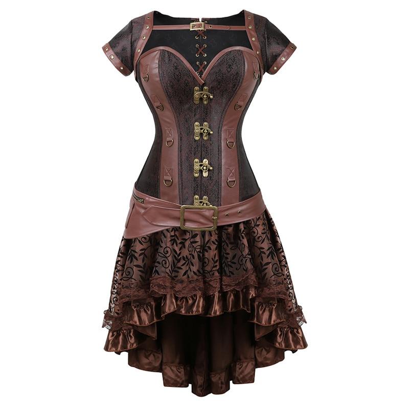 Steampunk corsé Plus tamaño gótico punk corpiño de cuero corsé vestidos para las mujeres set de falda de encaje burlesque de halloween cosplay sexy
