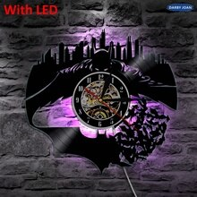 Batman&Gotham City Wall Vinyl Led Wall Lighting Vintage LP Record Clock Handmade Decor Art Gift Silhouette LED Light