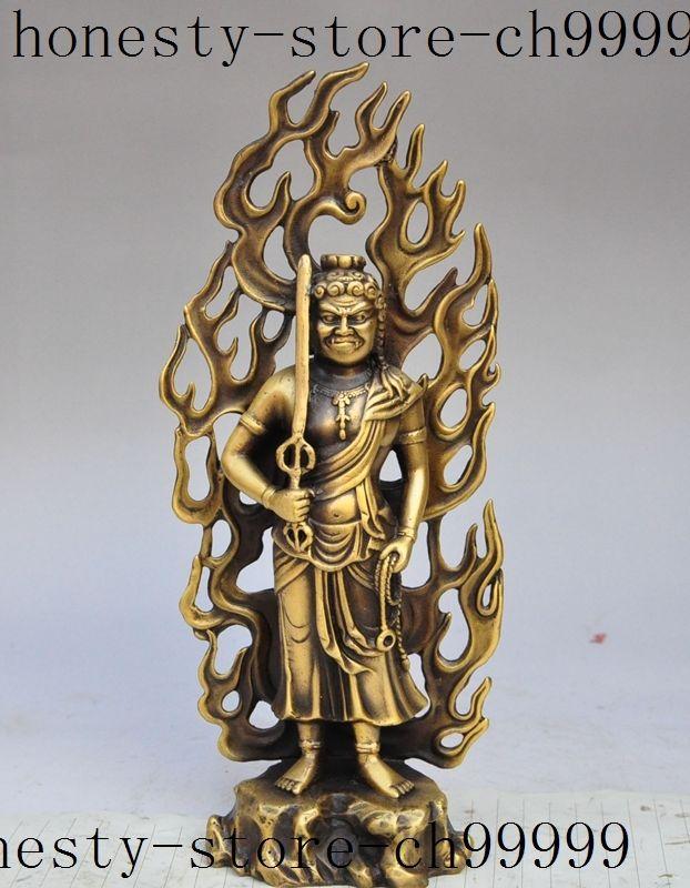 Navidad tibet, budismo latón exorcismo espíritus espada Dios Buda inmortal estatua de halloween