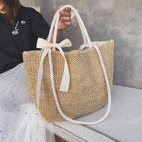 Плетеная женская сумка-тоут из ротанга, модный пляжный саквояж большой вместимости, Плетеная соломенная сумочка через плечо ручной работы ...