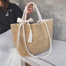 Mode rotin tissé femmes sac à main été sac de plage grande capacité sac fourre-tout à la main tricoté paille bandoulière sacs pour femmes 2019