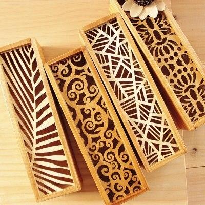 Estuche de lápices de encaje hueco material de oficina de madera caja de almacenamiento restaurar maneras antiguas envío gratis