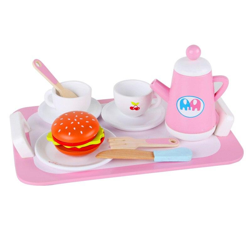 Novos brinquedos de madeira do bebê cozinha conjunto de brinquedos do restaurante chá da tarde conjunto