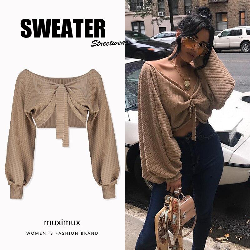 2018 otoño mujeres suéteres manga linterna suelta Pullover mujer Streetwear Jumper invierno Jersey corto de punto