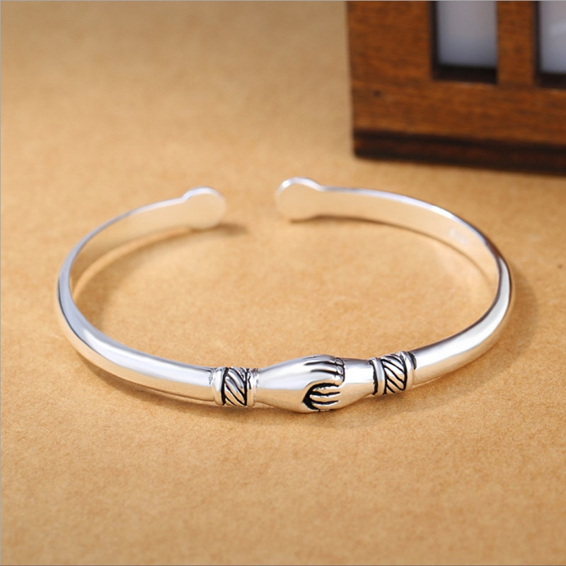New Retro Female 925 Sterling Silver Jewelry Bracelets Opening Handshake Creative Friendship Bangles