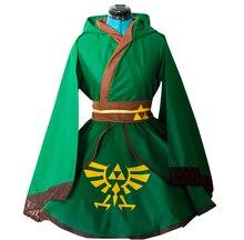 The Legend of Zelda Link Green Lolita Kimono Dress Anime Cosplay Costume