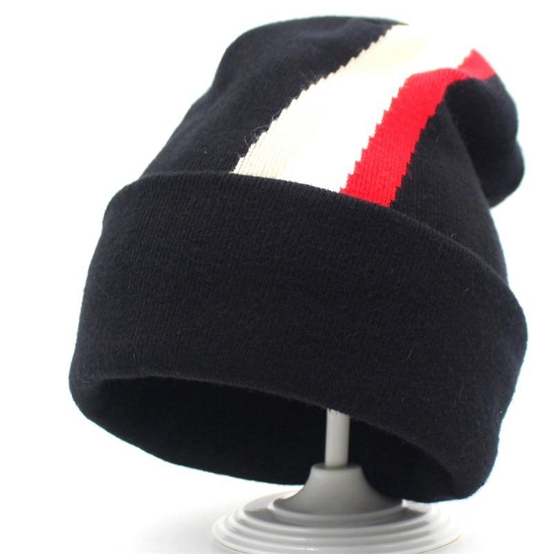 Beanie Women Men Winter Knit Hat Headwear Cashmere Warm Soft Stripe Casual Slouch Stretchy Outdoor Ski Accessory