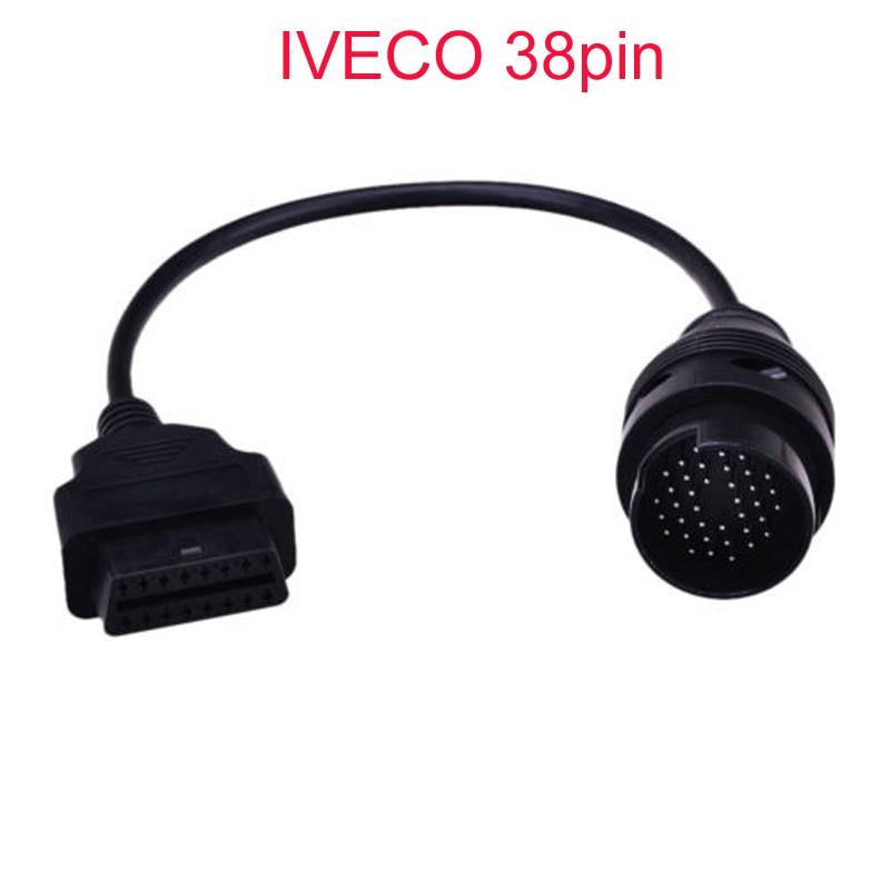 Envío Gratis OBD 2 II Cable para lveco 38Pin obd 16 Pin Connector Cable de interfaz de coche para herramientas de diagnóstico de camiones lveco