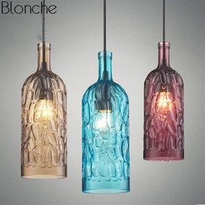 Vintage Pendant Lamp Colorful Glass Wine Bottle Hanging Light for Restaurant Cafe Bar Kitchen Decor Lighting Industrial Fixtures