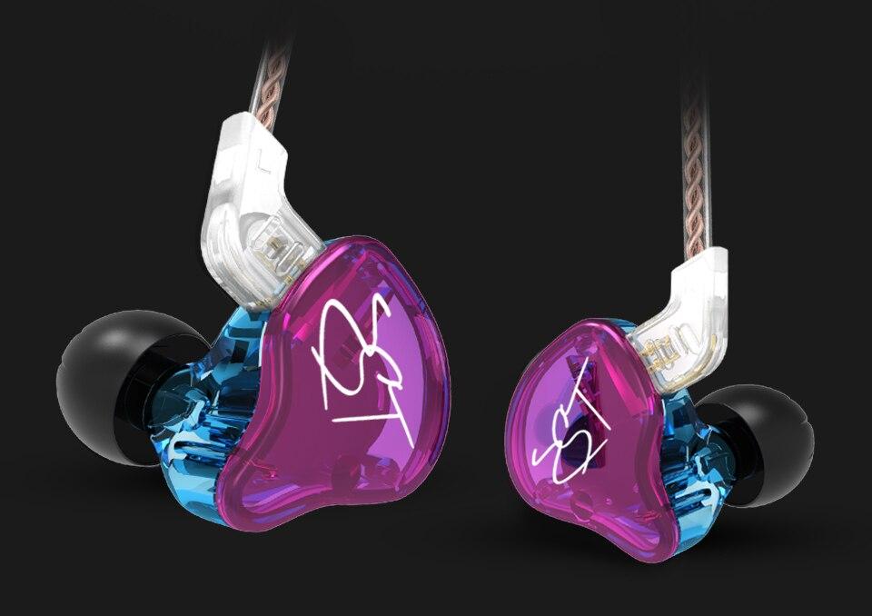 2017 Pro 1BA + 1DD híbrido en la oreja auricular HIFI DJ Monitor correr deporte auricular para ZS10 AS10 ZSN ZST C10