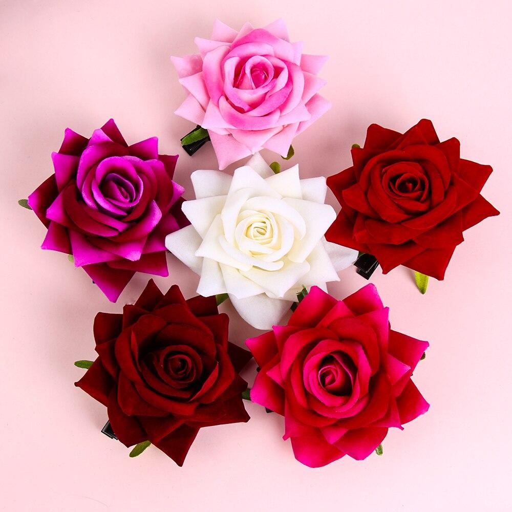 1 pieza Damas Rosa flor Hairgrip Horquillas para el cabello para fiesta de Boda nupcial horquillas bohemias Barrettes fotografía accesorios para el cabello