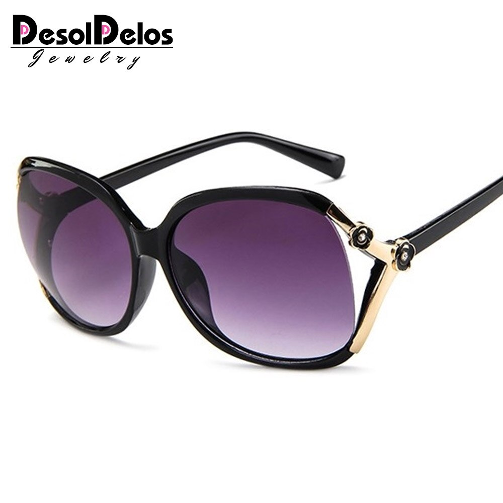 2019 Retro Oversized Oval Sunglasses Women Luxury Brand Classic Vintage Camellia Ladies Glasses Shad