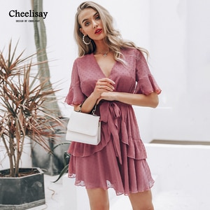 Sexy v-neck polka dot women dress Summer style layer ruffle chiffon short sundress Elegant zipper holiday vestidos 2019