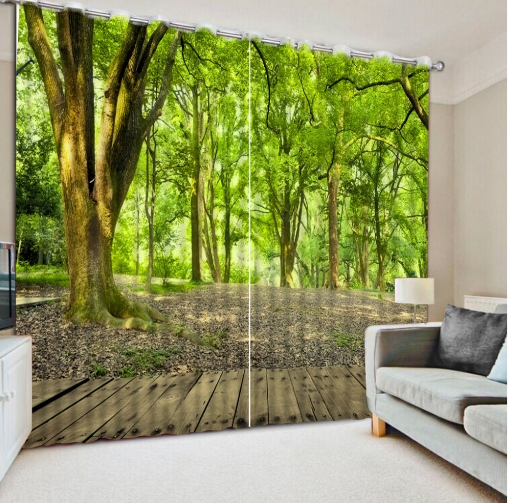 Cortinas modernas para sala de estar cortinas personalizadas Parque bosque camino casa dormitorio decoración cortinas sala de estar ventana