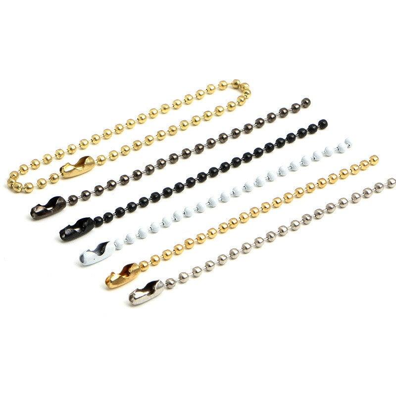 50Pcs Rodada Bola Bead Chains Crafting Garment/Bonecas/Sacos/Tag do Cair da Etiqueta Cadeia Fivelas Chave Anel conector Descobertas Jóias DIY