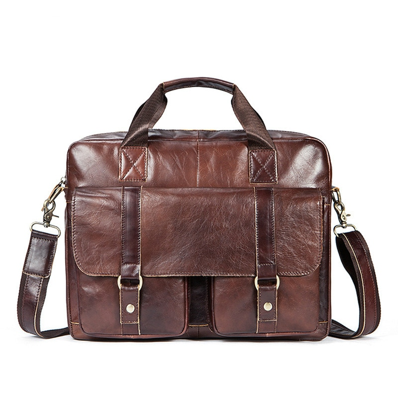 Sac en cuir véritable hommes porte-documents en cuir sac dordinateur portable bureau affaires sac à main café sac de messager Bolso Hombre Maleta