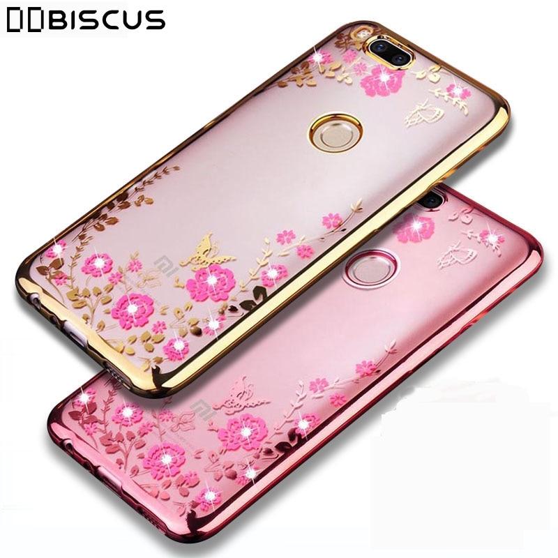 Espalda flor chapado suave TPU funda para Xiaomi Mi 8 9 10 5X A1 A2 Lite A3 9T Redmi 7 6A 4A 7A 8A Nota 8T Note 8 7 4 4X 5 6 caso