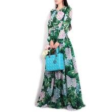 Haute qualité nouveau printemps/été femmes piste maxi robe fleurs feuilles vertes impression robe longue décontractée de plage