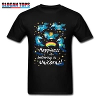 happiness t shirt men gift t shirt believe in unicorns tshirt birthday custom clothes adult lovely cartoon tops cotton tees blue